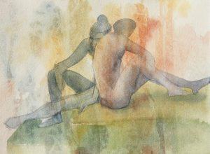Tuuli Autio: Kaksi IX, 2019, akvarelli, 27 x 37 cm
