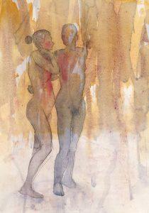 Tuuli Autio: Kaksi X, 2019, akvarelli, 35 x 25 cm