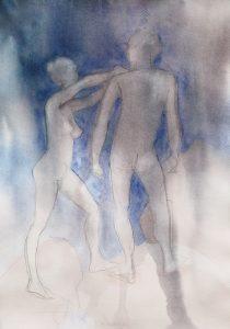 Tuuli Autio: Kaksi III, 2019, akvarelli, 41 x 29 cm