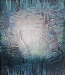 Jäljet VI, 2020, kuusi, sekatekniikka, 28 x 24 x 3 cm