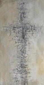 Jäljet II, 2020, kuusi, sekatekniikka, 50 x 27 x 3 cm