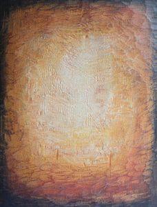 Jäljet IV, 2020, kuusi, sekatekniikka, 35 x 27 x 3 cm