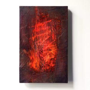 Palo, 2021, kuusi, sekatekniikka, 34 x 22 x 3 cm