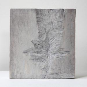 Kuura, 2021, kuusi, tempera, 29 x 27 x 3 cm